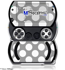 Kearas Polka Dots Whtie On Gray - Decal Style Skins (fits Sony PSPgo)