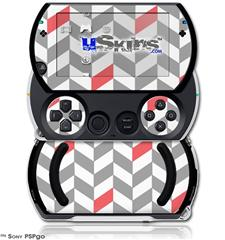 Chevrons Gray And Coral - Decal Style Skins (fits Sony PSPgo)