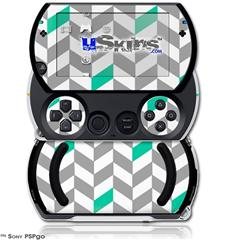 Chevrons Gray And Turquoise - Decal Style Skins (fits Sony PSPgo)