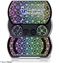Splatter Girly Skull Rainbow - Decal Style Skins (fits Sony PSPgo)