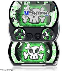 Cartoon Skull Green - Decal Style Skins (fits Sony PSPgo)