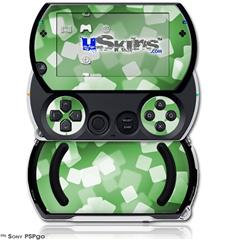 Bokeh Squared Green - Decal Style Skins (fits Sony PSPgo)