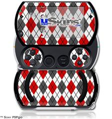 Argyle Red and Gray - Decal Style Skins (fits Sony PSPgo)