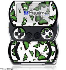 Butterflies Green - Decal Style Skins (fits Sony PSPgo)
