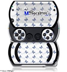 Pastel Butterflies Blue on White - Decal Style Skins (fits Sony PSPgo)