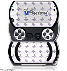 Pastel Butterflies Purple on White - Decal Style Skins (fits Sony PSPgo)