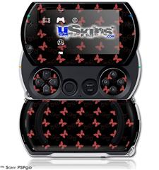 Pastel Butterflies Red on Black - Decal Style Skins (fits Sony PSPgo)