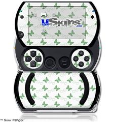 Pastel Butterflies Green on White - Decal Style Skins (fits Sony PSPgo)