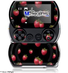 Strawberries on Black - Decal Style Skins (fits Sony PSPgo)