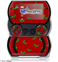 Holly Leaves on Red - Decal Style Skins (fits Sony PSPgo)