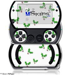 Holly Leaves on White - Decal Style Skins (fits Sony PSPgo)