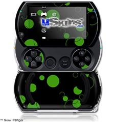 Lots of Dots Green on Black - Decal Style Skins (fits Sony PSPgo)