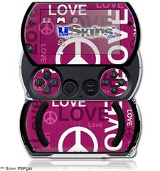 Love and Peace Hot Pink - Decal Style Skins (fits Sony PSPgo)