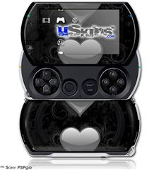 Glass Heart Grunge Gray - Decal Style Skins (fits Sony PSPgo)