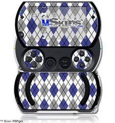 Argyle Blue and Gray - Decal Style Skins (fits Sony PSPgo)