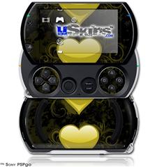 Glass Heart Grunge Yellow - Decal Style Skins (fits Sony PSPgo)