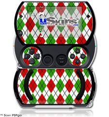 Argyle Red and Green - Decal Style Skins (fits Sony PSPgo)
