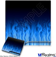 Sony PS3 Slim Skin - Fire Flames Blue