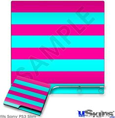 Sony PS3 Slim Skin - Psycho Stripes Neon Teal and Hot Pink