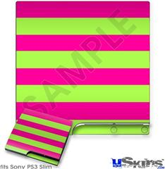 Sony PS3 Slim Skin - Psycho Stripes Neon Green and Hot Pink