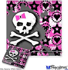 Sony PS3 Slim Skin - Pink Bow Skull