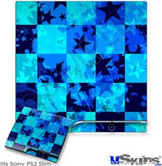 Sony PS3 Slim Skin - Blue Star Checkers