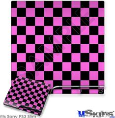 Sony PS3 Slim Skin - Checkers Pink