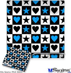 Sony PS3 Slim Skin - Hearts And Stars Blue