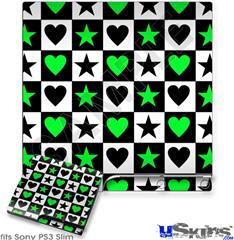 Sony PS3 Slim Skin - Hearts And Stars Green