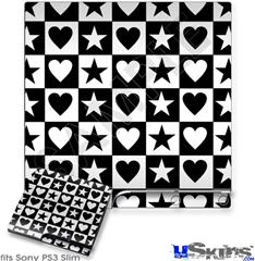 Sony PS3 Slim Skin - Hearts And Stars Black and White