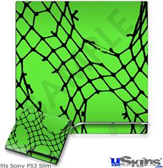 Sony PS3 Slim Skin - Ripped Fishnets Green