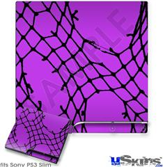 Sony PS3 Slim Skin - Ripped Fishnets Purple
