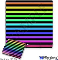 Sony PS3 Slim Skin - Stripes Rainbow