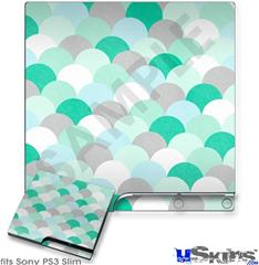 Sony PS3 Slim Decal Style Skin - Brushed Circles Seafoam