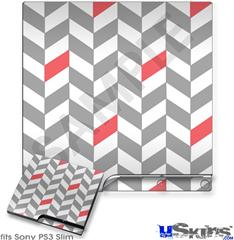 Sony PS3 Slim Decal Style Skin - Chevrons Gray And Coral