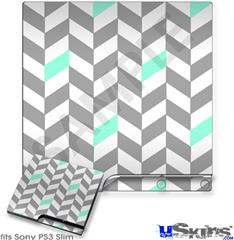Sony PS3 Slim Decal Style Skin - Chevrons Gray And Seafoam