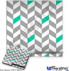 Sony PS3 Slim Decal Style Skin - Chevrons Gray And Turquoise