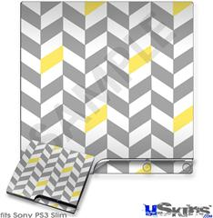 Sony PS3 Slim Decal Style Skin - Chevrons Gray And Yellow