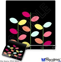 Sony PS3 Slim Decal Style Skin - Plain Leaves On Black