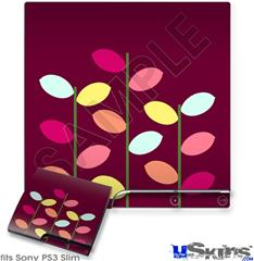 Sony PS3 Slim Decal Style Skin - Plain Leaves On Burgundy