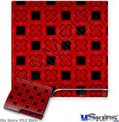 Sony PS3 Slim Decal Style Skin - Criss Cross Red