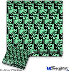 Sony PS3 Slim Decal Style Skin - Skull Checker Green
