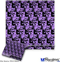 Sony PS3 Slim Decal Style Skin - Skull Checker Purple