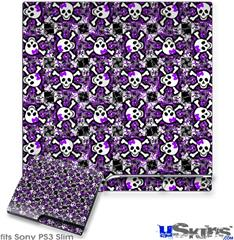 Sony PS3 Slim Decal Style Skin - Splatter Girly Skull Purple