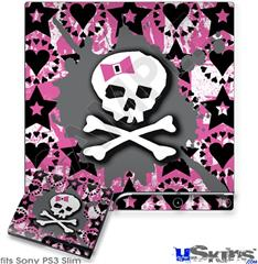 Sony PS3 Slim Decal Style Skin - Pink Bow Skull
