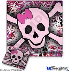 Sony PS3 Slim Decal Style Skin - Pink Skull
