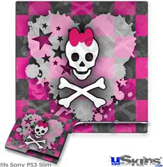 Sony PS3 Slim Decal Style Skin - Princess Skull Heart