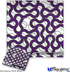 Sony PS3 Slim Decal Style Skin - Locknodes 01 Purple