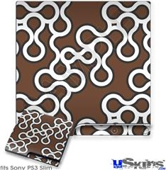 Sony PS3 Slim Decal Style Skin - Locknodes 03 Chocolate Brown