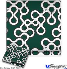 Sony PS3 Slim Decal Style Skin - Locknodes 03 Hunter Green